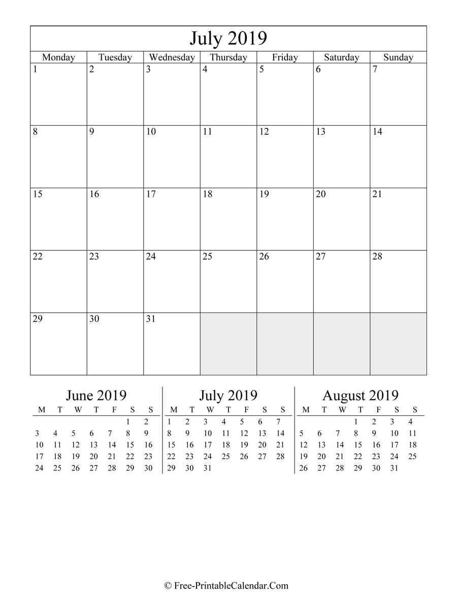 2019 Calendar July (Portrait Layout)