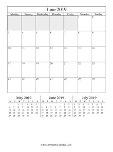 2019 calendar june vertical layout