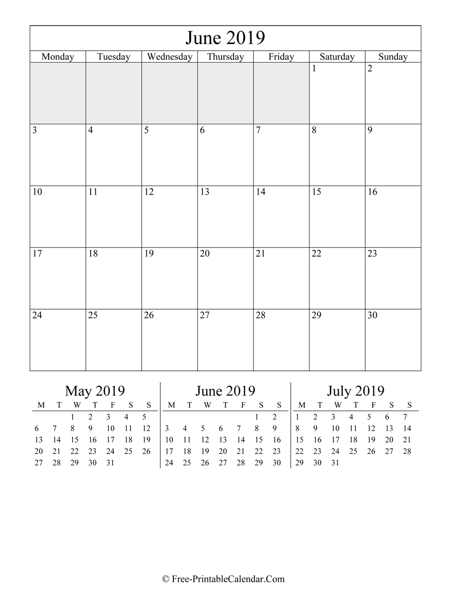 2019 Calendar June (Portrait Layout)