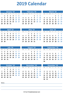 2019 calendar notes vertical