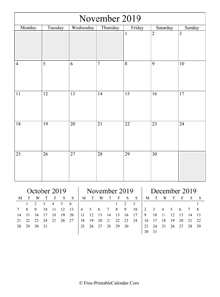 2019 calendar november vertical layout