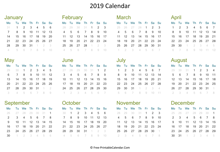 2019 calendar printable horizontal
