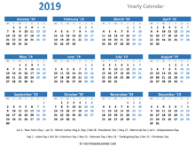 2019 yearly calendar holidays horizontal