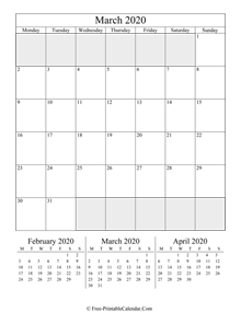 2020 calendar march vertical layout