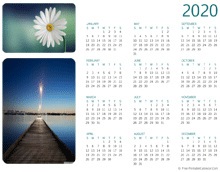 2020 photo calendar (horizontal layout)