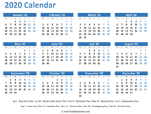 2020 yearly calendar with holidays (horizontal layout)