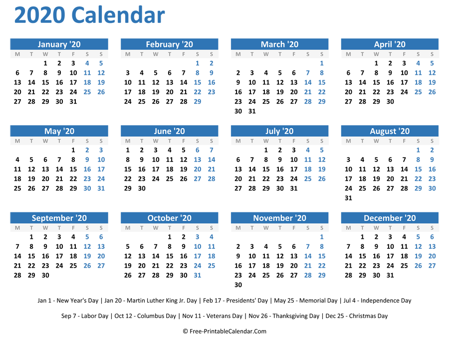 image about Free Printable 2020 Calendar With Holidays identify 2020 Every year Calendar with Holiday seasons (Horizontal Style)
