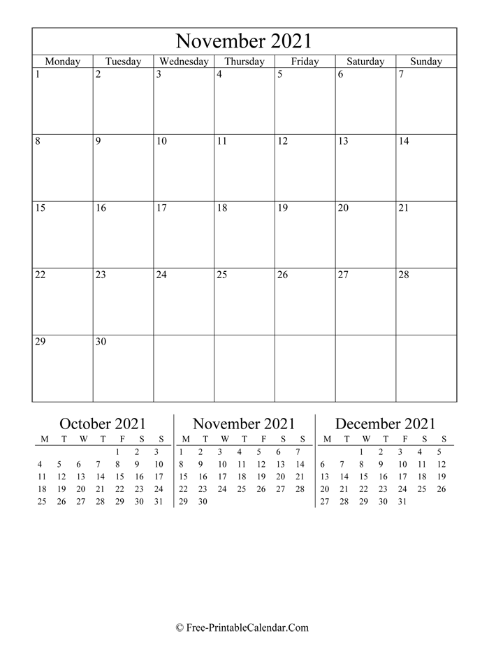 2021 Calendar November (Portrait Layout)