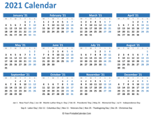 2021 Yearly Calendar with Holidays (horizontal)