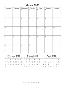 2022 calendar march vertical layout