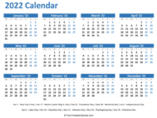 2022 Yearly Calendar with Holidays (horizontal)