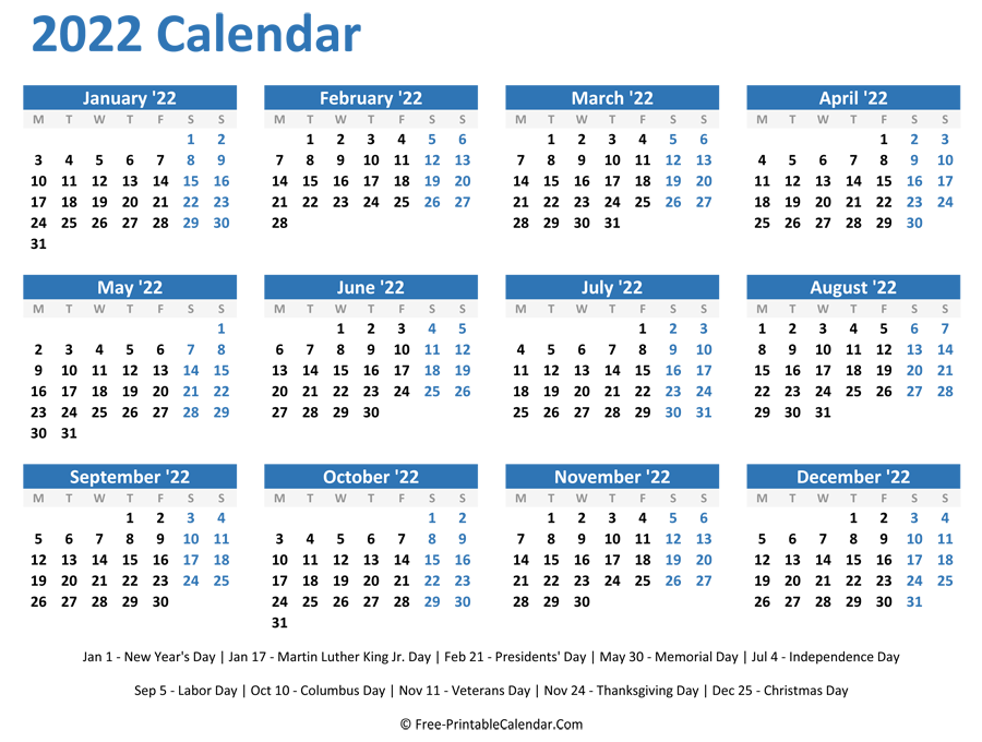 photo about 2022 Calendar Printable named 2022 Per year Calendar with Holiday seasons (Horizontal Structure)