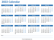 2022 Yearly Calendar with Notes space (horizontal)
