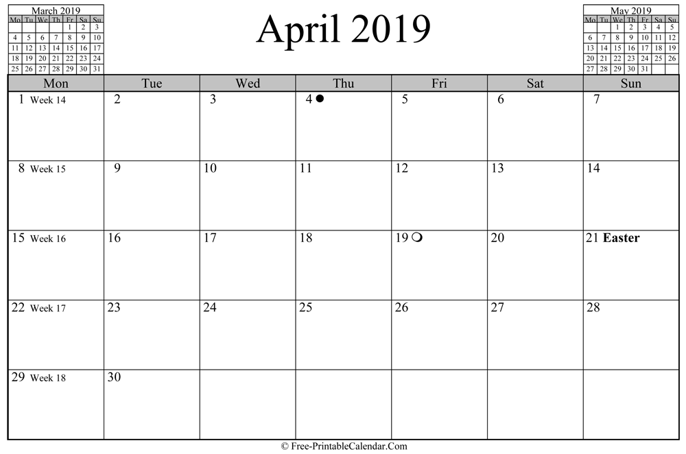 april 2019 Calendar (horizontal layout)