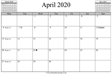 april 2020 calendar horizontal