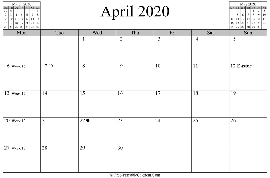 april 2020 Calendar (horizontal layout)