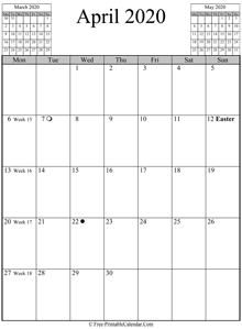 april 2020 calendar vertical