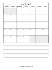 april 2020 editable calendar notes portrait