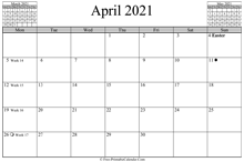 April 2021 Calendar (horizontal)