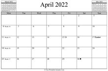 April 2022 Calendar (horizontal)