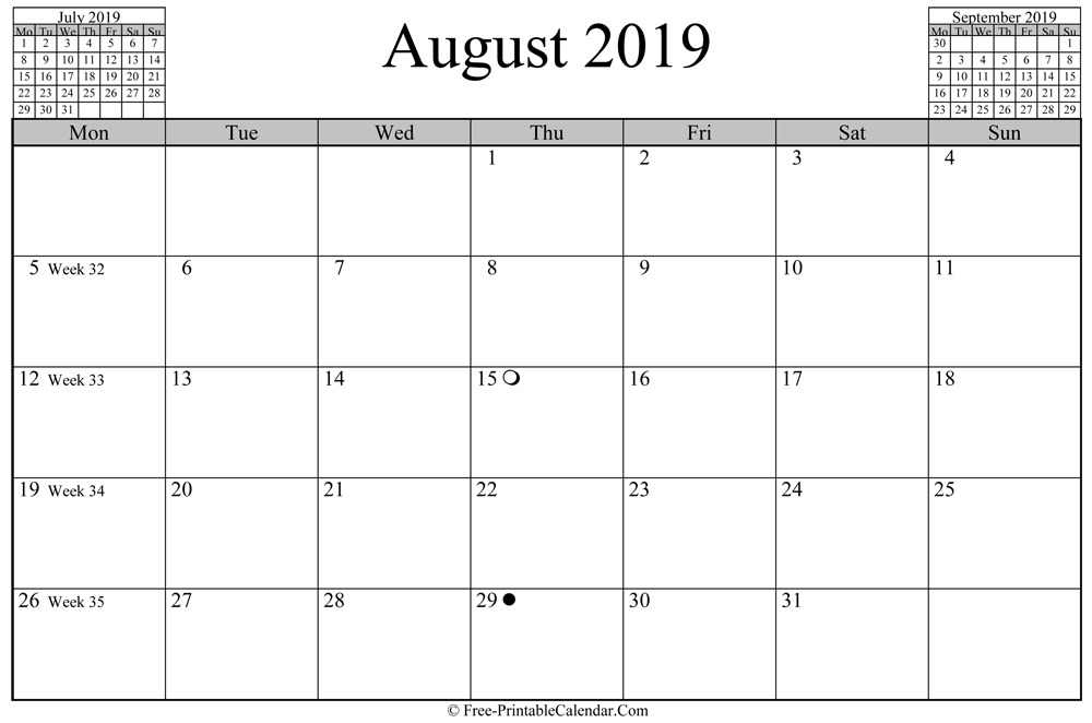 august 2019 Calendar (horizontal layout)