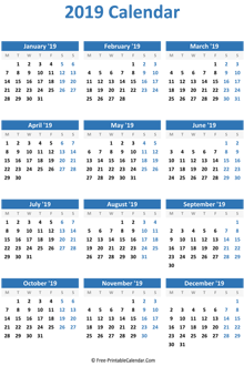 blank yearly calendar 2019 vertical
