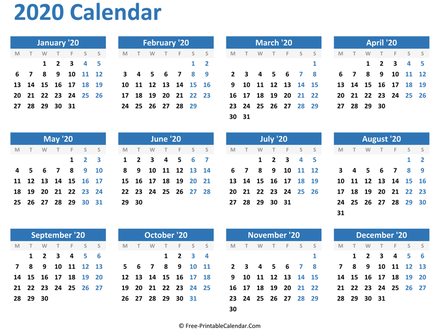 Blank Yearly Calendar 2020 (Horizontal Layout)