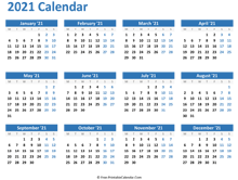 blank yearly calendar 2021 (horizontal layout)