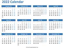 blank yearly calendar 2022 (horizontal layout)