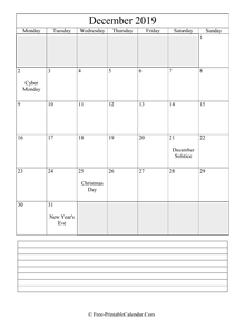 december 2019 editable calendar notes portrait