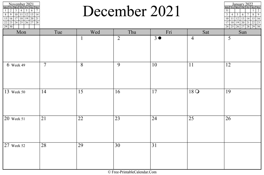 december 2021 Calendar (horizontal layout)