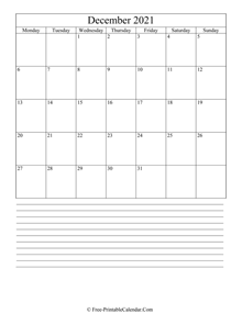 december 2021 editable calendar with notes space