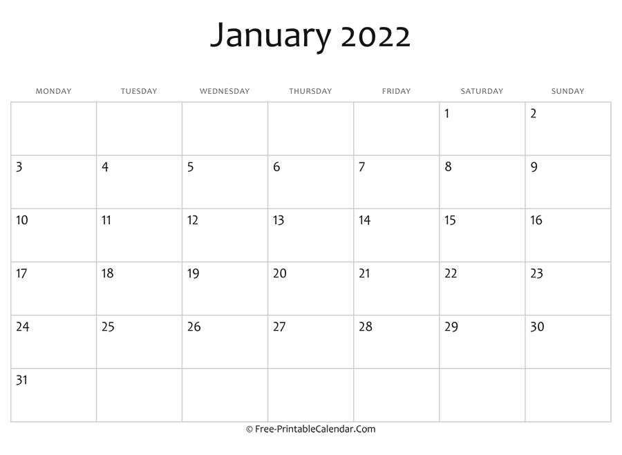 Editable 2022 January Calendar