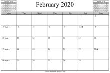 Horazontal February 2020 Calendar February 2020 Calendar (Vertical Layout)
