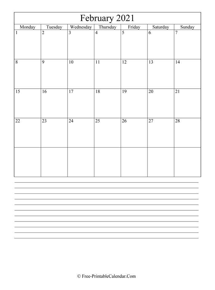 february 2021 Editable Calendar with notes