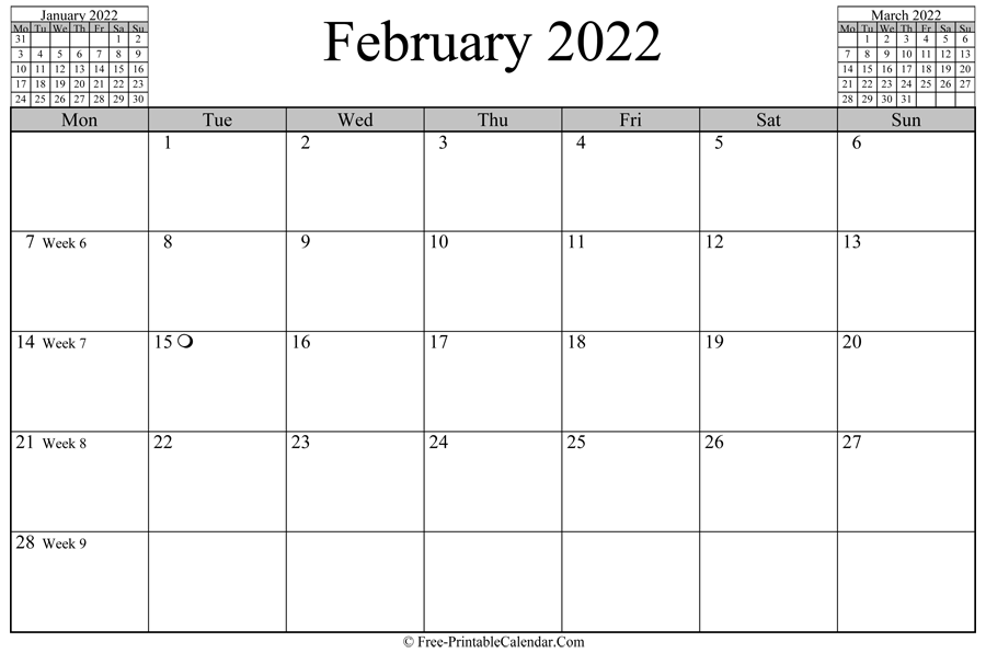 february 2022 Calendar (horizontal layout)