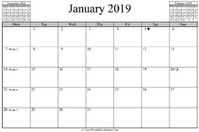 January 2019 Calendar (horizontal)