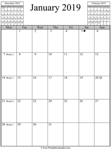 january 2019 calendar vertical
