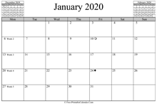 january 2020 calendar horizontal