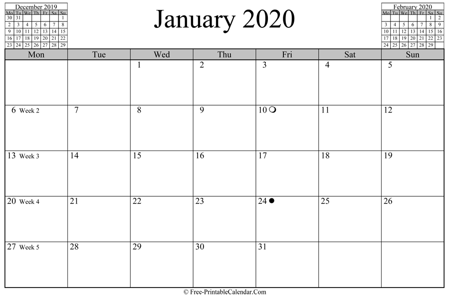 january 2020 Calendar (horizontal layout)
