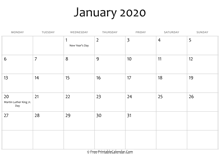 january 2020 calendar printable holidays