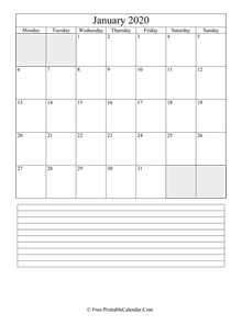 january 2020 editable calendar notes portrait