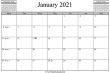 January 2021 Calendar (horizontal)