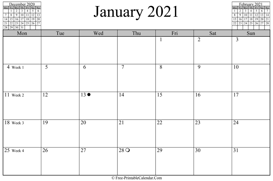 january 2021 Calendar (horizontal layout)