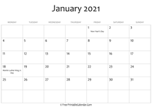 january 2021 calendar printable holidays