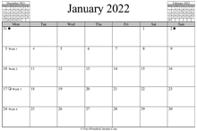 January 2022 Calendar (horizontal)