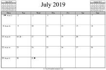 July 2019 Calendar (horizontal)