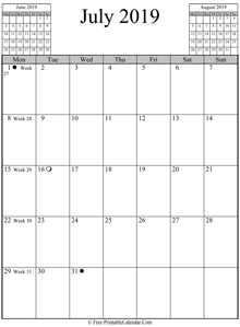 july 2019 calendar vertical