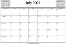 July 2021 Calendar (horizontal)