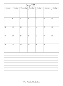 july 2021 editable calendar with notes space